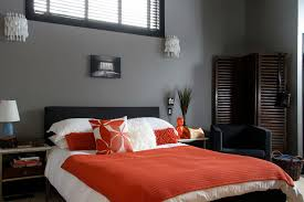 gray and orange bedroom. grey and orange bedroom. gray bedroom r