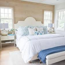 pillow top bench. Modren Bench Gray Wash Wood Plank Accent Wall With White Arch Headboard Throughout Pillow Top Bench C
