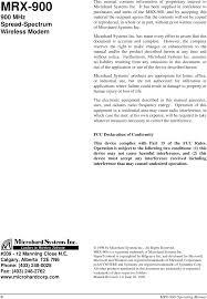 98p001x01 Wireless Modem User Manual Mrx900 01 Pdf Microhard