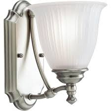 progress lighting renovations collection 1 light antique nickel bath sconce with etched glass shade p3016 81 the home depot