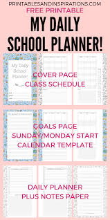 2019 2020 Daily School Planner For Kids With Free Printables