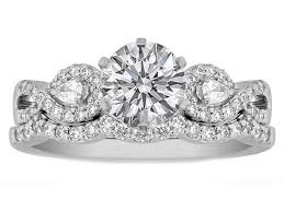 infinity wedding rings. infinity engagement ring \u0026 matching wedding pear accents, 0.70 tcw. rings k
