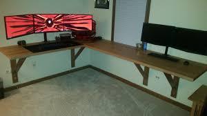 floating office desk. i built a floating office desk using ikea counter tops t