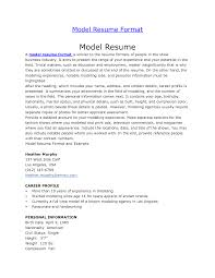 Resume Format Model Model Resume Sample Stibera Resumes How To Make A Modelactress Mod 8