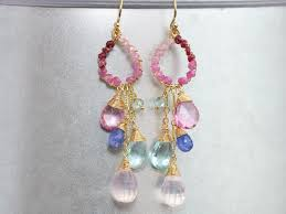 the orchid blossom earrings pink and blue topaz chandelier earrings pink ruby wire wrapped gemstone earrings