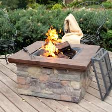 fire pit table on wood deck pad home depot outdoor