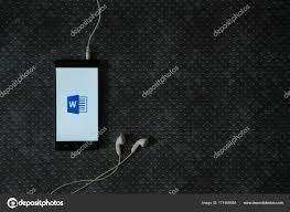 Microsoft Office Word Logo On Smartphone Screen On Metal Plate