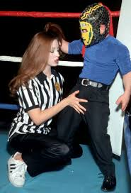 Sexy referee girl gets fucked by horny as hell midget in the.
