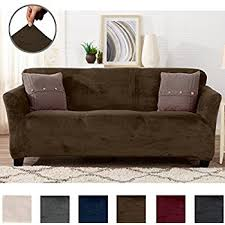 great bay home modern velvet plush strapless slipcover form fit stretch stylish furniture cover protector gale collection by brand sofa walnut brown
