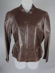 women s armani collezioni brown leather jacket coat size 10