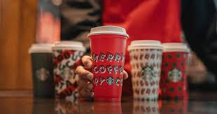 Resultado de imagem para Starbucks unveils five new holiday cups — including an environmentally friendly reusable one