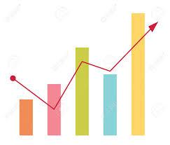 Chart Cartoon Financial Business Bar Chart With Arrow Going Up Vector Cartoon