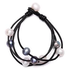 com cultured freshwater pearl wrap bracelet on multi strands leather beaded jewelry for women by aobei black leather black pearl jewelry