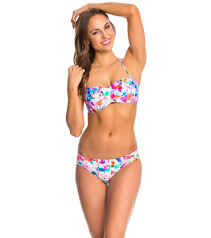 Swimoutlet Size Chart Kenneth Cole Cabana Cutie Pleated Bandeau Bikini Top At