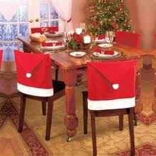 1pc cap chair cover dinner table red hat snowflake chair back cover xmas