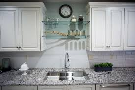 glass shelving above large undermount sink pertaining to glass shelves for kitchen