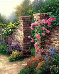 the rose garden painting thomas kinkade the rose garden art print
