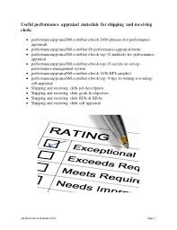 Simple Appraisal Form Fascinating Shipping And Receiving Clerk Performance Appraisal