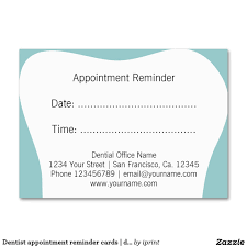 Sample Appointment Card Template Dentist Appointment Reminder Cards Dental Office Large Business 19