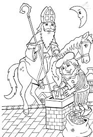 Kleurplaat Sinterklaas Bezorgt Pakjes Sint En Piet Saint