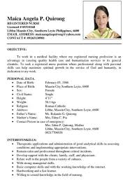 Sample Nurse Resume Philippines