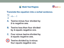 10 translate the equation into a verbal