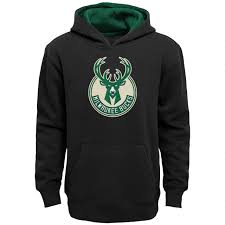 Clothing Prime Youth com - Nba Milwaukee Genuine Stuff Black Hooded Amazon Small Sweatshirt Bucks