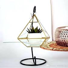 metal and glass terrarium glass terrarium geometric container desktop planter for air plants holder miniature outdoor fairy garden decorative vases gift