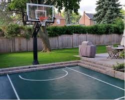 backyard ideas basketball court. this is an example of a small modern partial sun backyard concrete paver landscaping in toronto ideas basketball court i