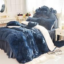 3 4 6 pure color mink velvet bedding sets extra color lambs wool fleece duvet cover bed skirt fied twin queen king size kids bedding set comforters sets