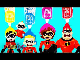 learn colors with the incredibles 2 dolls with crayola bath paints baby jack jack