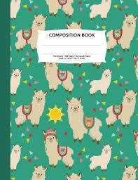 Llamas Alpacas Green Print Composition Notebook Graph Paper 4x4