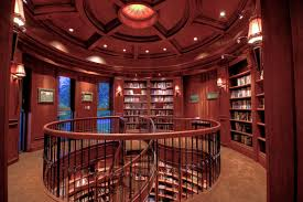 The library even has a mahogany paneled bathroom with silk wall coverings.