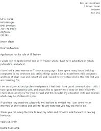 Trainee Cover Letters It Trainee Cover Letter Example Icover Org Uk