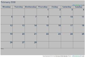 blank 2018 calendar february 2018 blank calendar