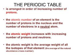 THE PERIODIC TABLE is arranged in order of increasing number of ...