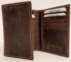 distressed brown trifold cowhide leather wallet