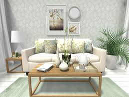spring decorating ideas living room design with leaf print wallpaper and home decor