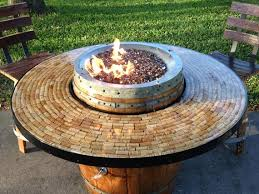 wine barrel gas fire pit and patio