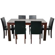 sentinel cosmetic damaged wooden dining table 6 faux leather chairs set furniture walnut