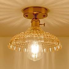 amber glass textured semi flush light