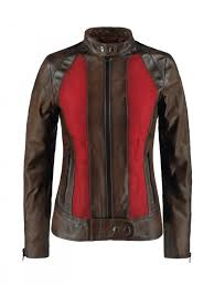 two tone leather jacket for womens