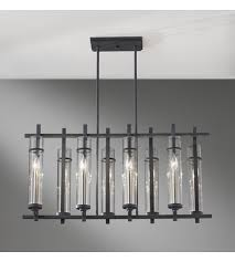 feiss f2630 8af bs ethan 8 light 10 inch antique forged iron and brushed steel linear chandelier ceiling light
