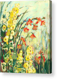 impressionist acrylic print featuring the painting my secret garden by jennifer lommers