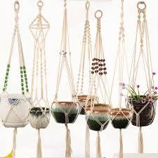 macrame plant hanger indoor outdoor hanging planter basket jute retro flower pot hanging rope holder string home garden balcony decoration nz 2019 from