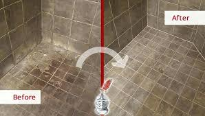 before and after picture of a bathroom caulking service in cleaning travertine shower steam soap s cleaning shower tile a inspire stone floors