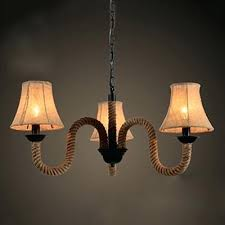 rope light chandelier industrial 3 light chandelier with rope fixture arm and fabric shade 3 light
