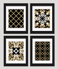 gold black and white bedroom. black white gold art wall set of 4 by inkandnectar, $45.00 and bedroom r