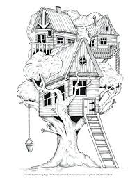Coloring Pages Of A House Tree House Coloring Pages Coloring Pages
