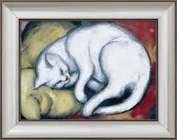 franz marc painting the white cat the cat on the yellow pillow 1912 framed